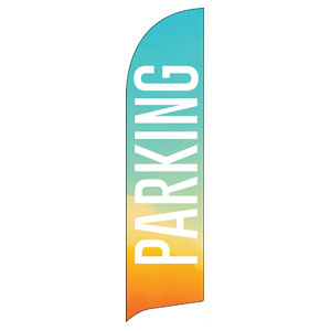 Parking Turquoise Orange Flag Banner