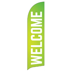 Welcome Lime Green Flag Banner