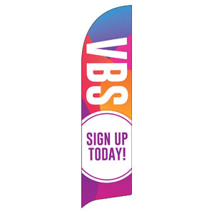 Curved Colors VBS Sign Up Flag Banner