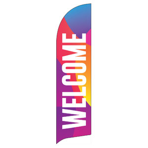 Curved Colors Welcome Flag Banner