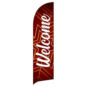 Red and Gold Snowflake Welcome Flag Banner