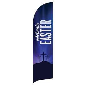 Aurora Lights Celebrate Easter Flag Banner