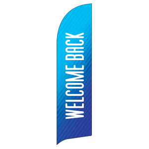 Retro Geo Blue Welcome Back Flag Banner