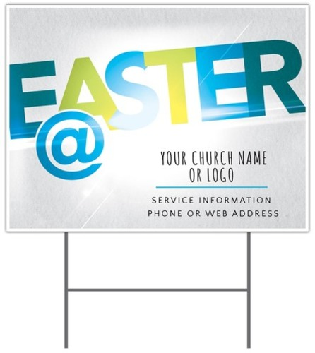 Easter At Yard Sign Church Banners Outreach Marketing