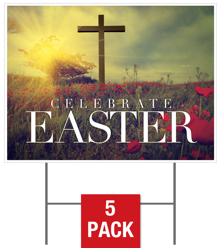 Yard Signs, Easter, Celebrate Easter Cross , 18 x 24