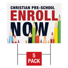 Enroll Pencils Pre School Yard Sign