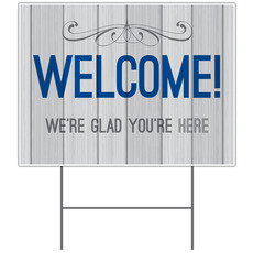 Painted Wood Welcome Yard Sign
