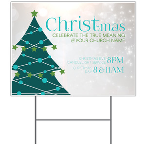 Teal Tree Christmas Yard Signs
