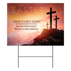 Easter Crosses Hilltop Yard Sign