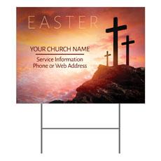 Easter Crosses Hilltop Yard Sign