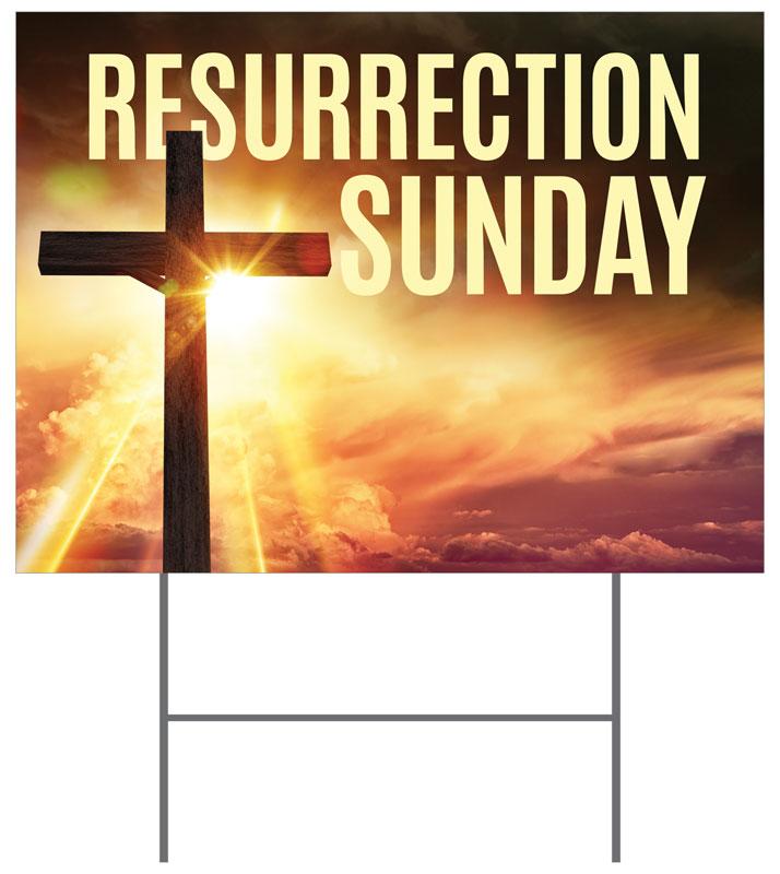 Resurrection Sunday Cross Yard Sign Church Banners