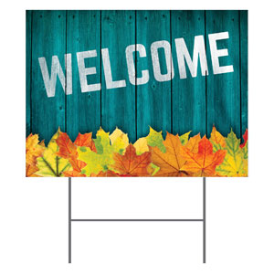 Blue Wood Bright Leaves Yard Signs - Stock 1-sided
