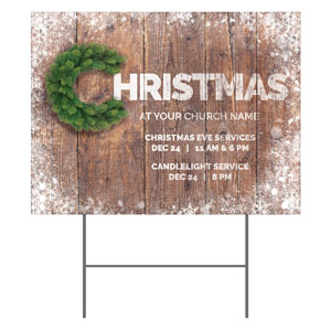 Christmas C Wreath YardSigns