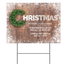 Christmas C Wreath Yard Sign