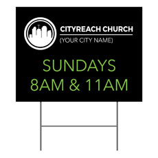 CityReach Black and Green Yard Sign