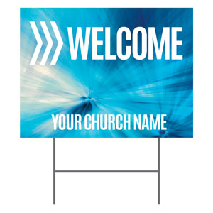 Chevron Welcome Blue YardSigns