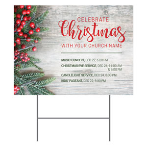 Christmas Branches and Berries Yard Signs