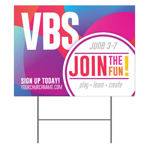 Curved Colors VBS Join the Fun YardSigns