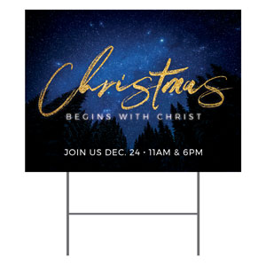 Night Sky Gold Script Christmas YardSigns