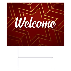 Red and Gold Snowflake Welcome Yard Signs - Stock 1-sided
