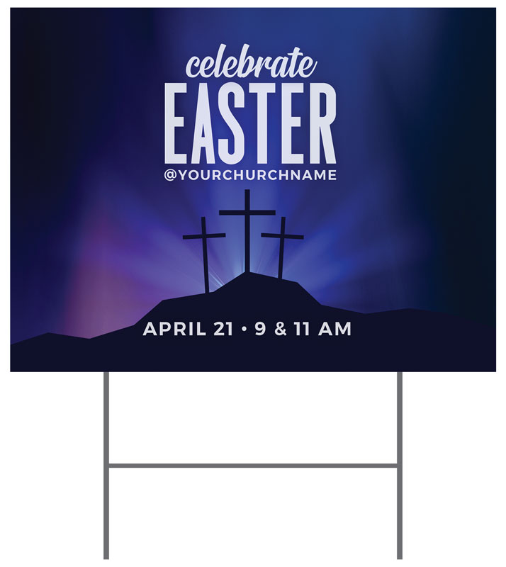 Yard Signs, Easter, Aurora Lights Celebrate Easter, 18 x 24
