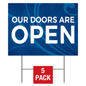 Flourish Doors Are Open Yard Signs - Stock 1-sided