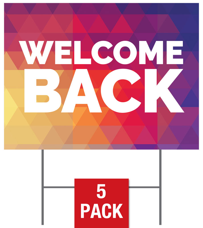 Yard Signs, Welcome Back, Geometric Bold Welcome Back, 18 x 24