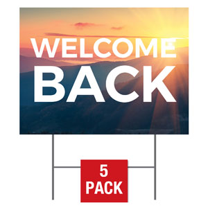 Sunrise Glow Welcome Back Yard Signs - Stock 1-sided