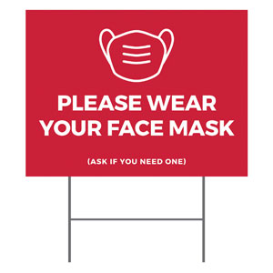 Red Face Mask YardSigns