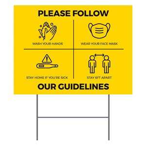 Yellow Guidelines Yard Signs - Stock 1-sided