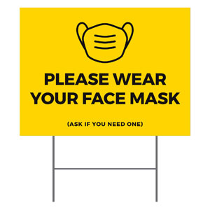Yellow Face Mask YardSigns