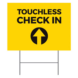 Yellow Touchless Check In YardSigns