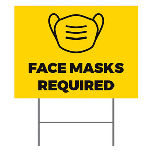 Yellow Face Masks Required YardSigns