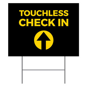 Jet Black Touchless Check In YardSigns