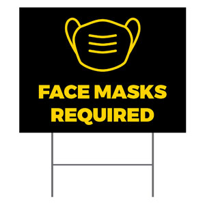 Jet Black Face Masks Required YardSigns
