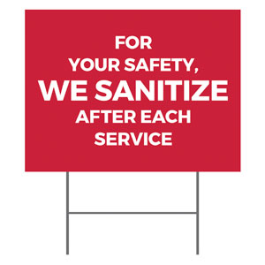 Red We Sanitize YardSigns