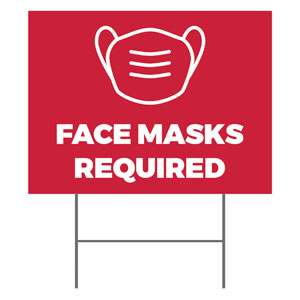 Red Face Masks Required YardSigns