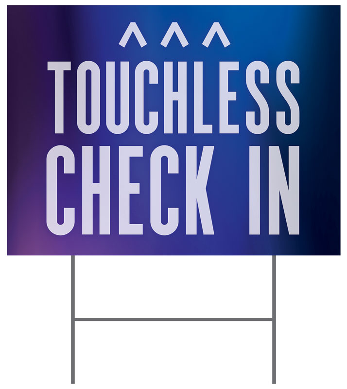 Yard Signs, Welcome Back, Aurora Lights Touchless Check In, 18 x 24