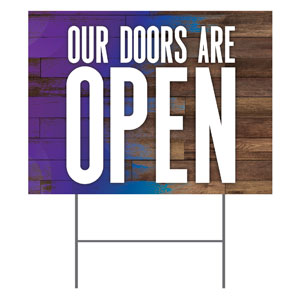 Colorful Wood Doors Are Open Yard Signs - Stock 1-sided