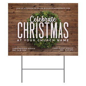 Celebrate Christmas Wreath YardSigns