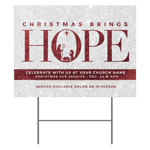 Christmas Brings Hope Sparkle YardSigns