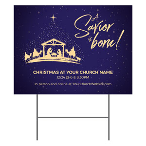 Christmas Star Savior Is Born YardSigns