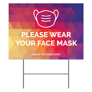 Geometric Bold Face Mask Yard Signs - Stock 1-sided