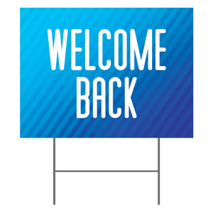 Retro Geo Blue Welcome Back Yard Signs - Stock 1-sided