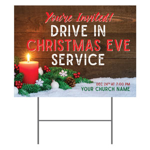 Drive In Christmas Candle YardSigns