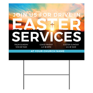 Drive In Easter Services YardSigns