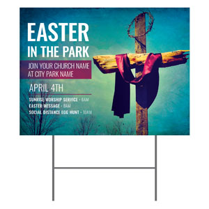 Easter In Park Blue YardSigns